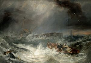 Grace Darling. Oil on Canvas painting by J.W. Carmichael (figures attributed to H