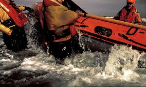 Launch of Rhyl D-class inshore lifeboat, 1991.