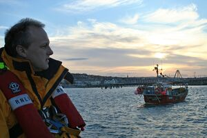 Swanage crew member at dusk