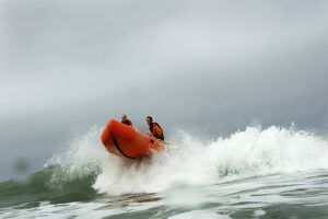 Woolacombe. RNLI lifeguards in an iArancia nshore rescue boat