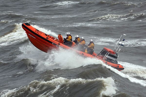 Blackpool Atlantic 85 inshore lifeboat William and Eleanor B-867 heading from right to left at speed