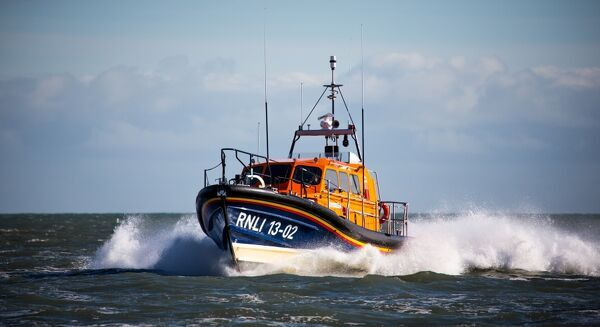 Dungeness Shannon class lifeboat The Morrell 13-02 at sea during trials prior to going on station