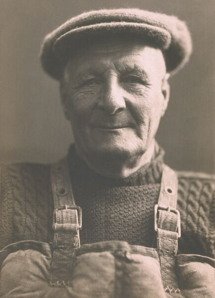 Henry Blogg, coxswain of Cromer lifeboat in jersey, cap and Kapok lifejacket - 1942