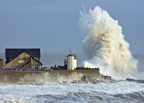 Huge wave breaking at Porthcawl's sea wall
