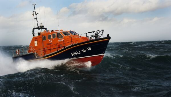 Kilmore Quay Tamar class lifeboat 16-18 Killarney. Lifeboat moving from left to right in choppy seas