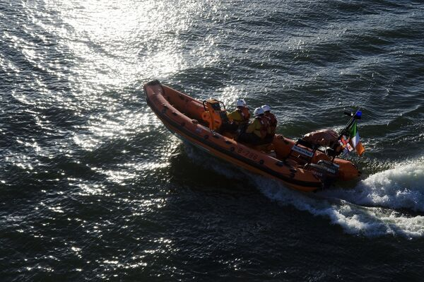 Kinsale Atlantic 75 inshore lifeboat Miss Sally Anne (Baggy) B-796. Shot from above, lifeboat heading from right to left