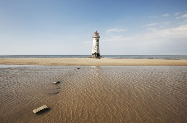 Landscape shot of lighthouse at Rhyl. Taken from beach