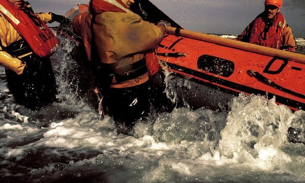 Launch of Rhyl D-class inshore lifeboat, 1991