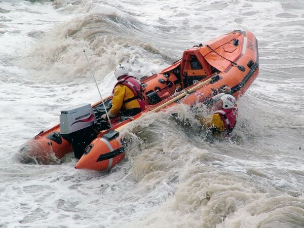 Launch of Weston-super-Mare D class inshore lifeboat. Winner of the RNLI Photographer of the Year competition 2009