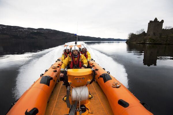 Loch Ness is home to the first lifeboat on the inshore waters of Scotland. The station operates an Atlantic 75, the Thelma Glossop B-737. Taken from Nigel Millard's book The Lifeboat: Courage on our Coasts. Page 58