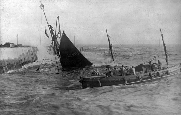 Lowestoft Norfolk and Suffolk class lifeboat Agnus Cross ON 663 during a service to a sinking wooden ketch