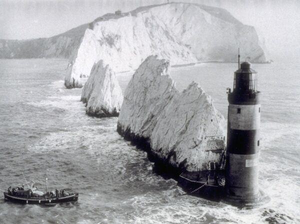 "The Needles Lighthouse unidentified 46' Watson (motor) or 52"" Barnett part of the Grahame Farr archives"