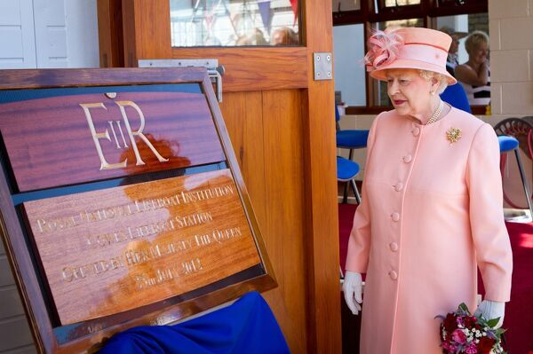 Opening of Cowes lifeboat station by Her Majesty Queen Elizabeth II as part of her Diamond Jubilee tour. Atlantic 85 inshore lifeboat Sheena Louise B-859 also named at the ceremony. The Queen unveiling a plaque