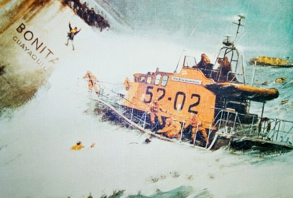 Photograph of the painting by H E Bevis of the rescue of the Bonita which was wrecked in December 1981. 29 people were rescued by the St Peter Port Arun class lifeboat Sir William Arnold 52-02