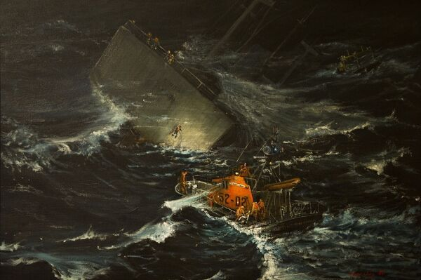 Photo of painting by local Guernsey artist David Jory (1984) of the vessel Bonita which was wrecked in December 1981. 29 people were rescued by the St Peter Port lifeboat