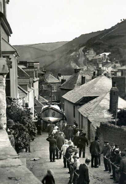 Port Isaac self righter lifeboat Richard and Sarah being led through the streets