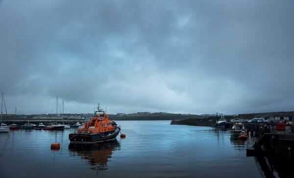 Portrush Severn class lifeboat William Gordon Burr 17-30 moored in the harbour