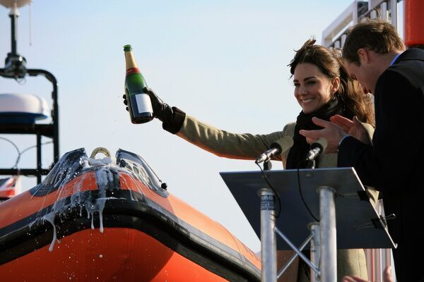 Naming ceremony of Trearddur Bay Atlantic 85 Hereford Endeavour B-847 by Prince William and Catherine Middleton who is pouring champagne over the bow of the lifeboat