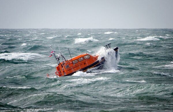 Prototype FCB2 (Shannon) lifeboat in rough seas off Portland Bill