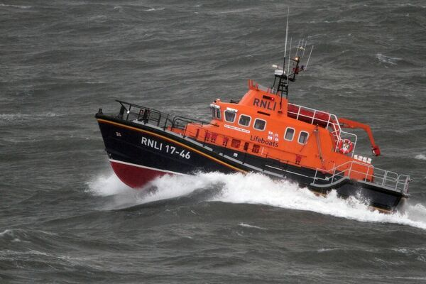 Relief severn class lifeboat Margaret Joan and Fred Nye 17-46 in rough seas off Durlston Head near Swanage