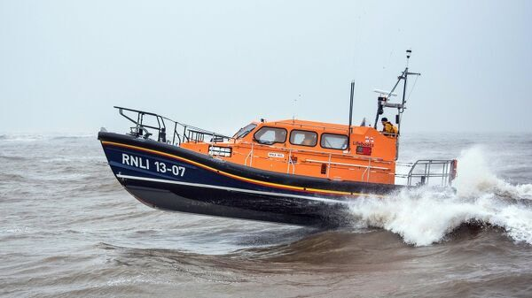 Relief Shannon class lifeboat Reg 13-07 at sea in Lowestoft