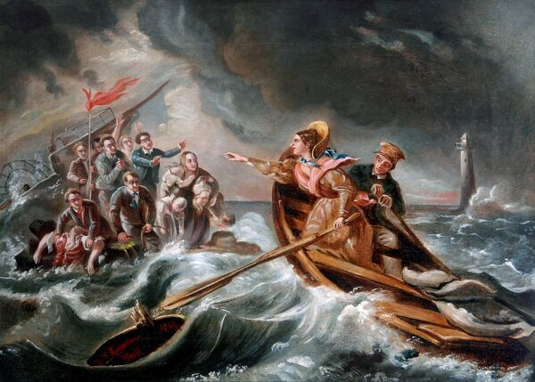 The Rescue of the Forfarshire by Grace Darling. Oil on Canvas painting executed 1886 by artist F. S. Lowther - copy after the original by Charles Achille D'Hardvillier  NTV_GDMU_1.tif