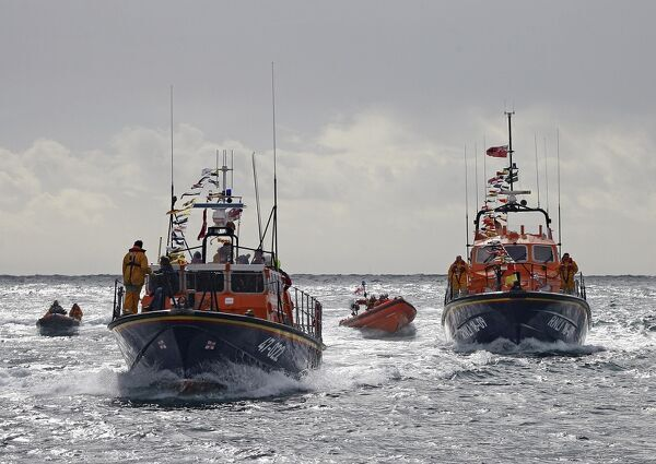 Salcombe tamar class lifeboat Baltic Exchange III 16-09 ON 1289. Pictured with the old Tyne class lifeboat Baltic Exchange II 47-022 ON 1130, and the Atlantic 75 class inshore lifeboat Joan Bate B-794