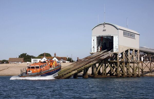 Selsey Tyne class lifeboat Voluntary Worker 47-031 launching down the slipway