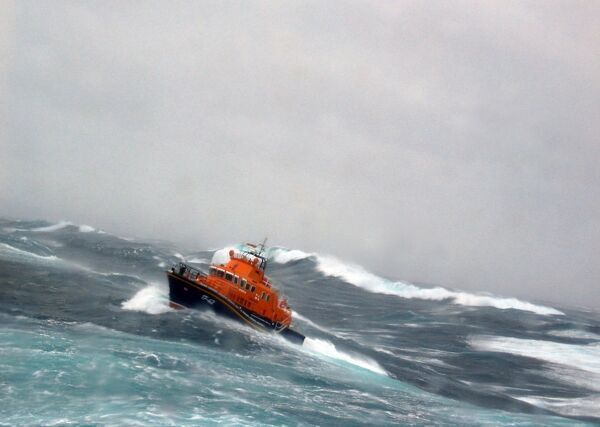 Thurso severn class all weather lifeboat The Taylors in rough seas