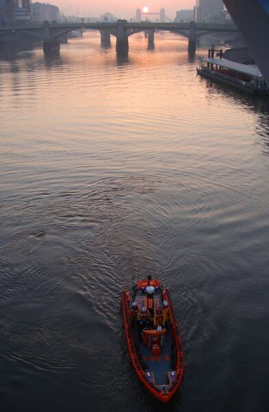 Tower E class lifeboat on the River Thames. Winner of the Landscape category of the Photographer of the Year 2009