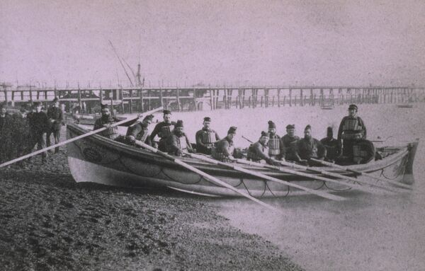 Weston-super-Mare ON 259 25ft Self Righting lifeboat ex William James Holt, crew has oars in their hands taken from the Grahame Farr Life-boat Archives