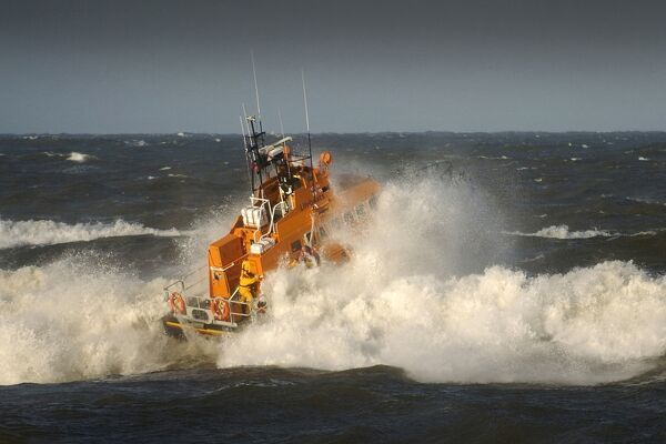 Whitby Trent class lifeboat George and Mary Webb 14-14 ON 1212 in rough seas