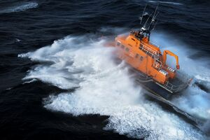 Aerial shot of Valentia severn class lifeboat John and Margaret Doig