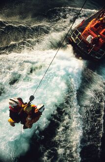 Appledore crew being winched from the lifeboat