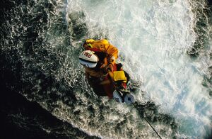 Appledore Lifeboat crew winching to helicopter