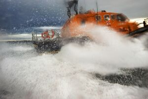Appledore Tamar class lifeboat Mollie Hunt in rough seas.