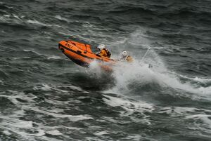 Ballyglass D-class inshore lifeboat The Western D-687. Lifeboat moving from right to left