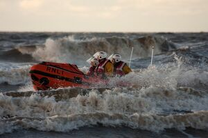Blackpool D-class inshore lifeboat D-729 in surf
