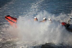 Cullercoats Atlantic 85 inshore lifeboat on exercise.