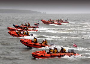 Exercise with eight lifeboats at Flat Holm. Lifeboats from Penarth, Burnham upon sea