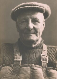 Henry Blogg, coxswain of Cromer lifeboat in jersey, cap and Kapo