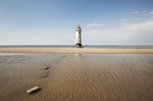 Landscape shot of lighthouse at Rhyl. Taken from beach.