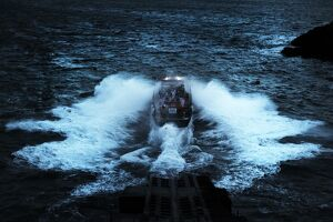 Launch of St Davids Tyne class lifeboat at night