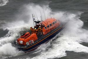 Mumbles Tyne class lifeboat Babs and Agnes Robertson 47-019 on exercise in rough seas.