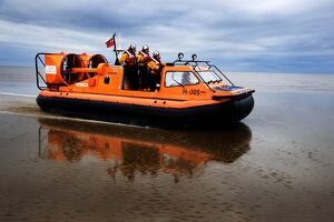 New Brighton hovercraft Hurley Spirit H-005 during a training exercise on mudflats