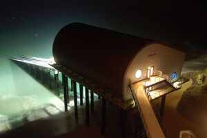 Padstow Lifeboat Station at night
