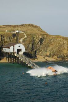 Padstow Tamar class lifeboat Spirit of Padstow launching