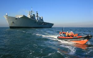 inshore lifeboats/royal navy flagship aircraft carrier hms ark royal