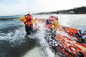 Scaroborugh D-class lifeboat lifeboat being launched.