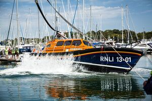 Self-right test of the Shannon class lifeboat Jock and Annie Slater 13-01 at Berthons